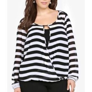 Torrid stripe sheer shirt blouse black white